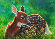 Whitetail Deer Painting Framed Prints - Daisy Deer Framed Print by Crista Forest