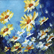 Yellow Flowers Painting Prints - Daisy Field Print by Natasha Denger