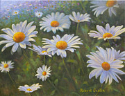 Daisies Paintings - Daisy Field by Robert Casilla
