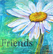 King James Mixed Media Posters - Daisy Friends Poster by Lisa Fiedler Jaworski