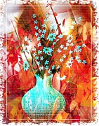 Vase Of Flowers Mixed Media Posters - Daisy Poster by Maria Magri