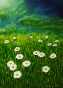 Organic Painting Framed Prints - Daisy meadow Framed Print by Veikko Suikkanen