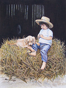 Gold Labrador Paintings - Daisy by Nancy Cupp