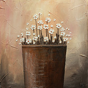 Home Art Metal Prints - Daisy pot Metal Print by Home Art