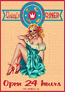 Retro Pinup Prints - Daisys Diner Print by Cinema Photography