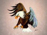 American Bald Eagle Painting Prints - Dakota Print by Adele Moscaritolo