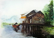 Kashmir Painting Originals - Dal Lake at Kashmir by Soman Patnaik