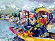 Kashmir Painting Originals - Dal Lake Jewel in the crown of Kashmir by Donna Jolly Jacob