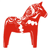 Sweden  Digital Art Posters - Dala Horse Red Poster by Marianne Beukema