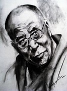 World Leader Drawings - Dalai Lama by Ashok Karnik