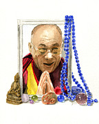 Lama Painting Framed Prints - Dalai Lama Framed Print by Byron Taylor