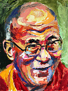 Lama Painting Framed Prints - Dalai Lama Framed Print by Derek Russell