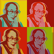 Tibet Digital Art Prints - Dalai Lama Print by Jean luc Comperat