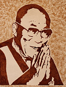 Dalai Lama Framed Prints - Dalai Lama original coffee painting Framed Print by Georgeta Blanaru