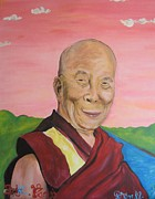Lama Painting Framed Prints - Dalai Lama Portrait Framed Print by Erik Franco