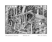Property Drawings Prints - Dalby Waterwheel Hood Canal W A Print by Jack Pumphrey