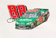 Amp Painting Framed Prints - Dale Earnhardt Jr. #88 AMP Framed Print by David Straitiff
