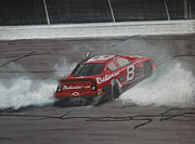 Tire Mixed Media Originals - Dale Earnhardt Junior Victory burnout by Paul Kuras