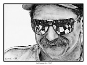 Greyscale Drawings - Dale Earnhardt Sr in 1995 by J McCombie