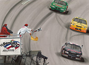 Chevy Prints - Dale Earnhardt wins Daytona 500-Checkered Flag Print by Paul Kuras