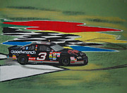 Tire Mixed Media Originals - Dale Earnhardt Wins Daytona 500-Infield Doughnuts by Paul Kuras