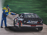 Tire Mixed Media - Dale Earnhardt wins Daytona 500-Pit Road hand shake by Paul Kuras