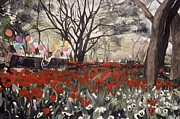 Park Benches Paintings - Dallas Blooms by Jo Adams