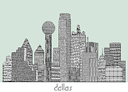 Dallas Mixed Media Prints - Dallas city vintage Print by Brian Buckley
