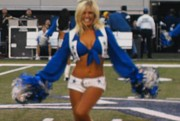 Cheerleader Pom Poms Framed Prints - Dallas Cowboys Cheerleader Framed Print by Donna Wilson