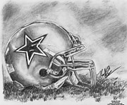 Dallas Drawings Metal Prints - Dallas Cowboys Metal Print by Nathaniel Bostrom