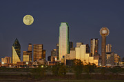 Dallas Skyline Posters - Dallas Moon Poster by Christian Heeb