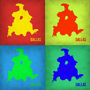 World Map Digital Art Posters - Dallas Pop Art Map 1 Poster by Irina  March