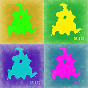Dallas Framed Prints - Dallas Pop Art Map 2 Framed Print by Irina  March