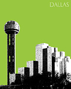 Dallas Skyline Posters - Dallas Reunion Tower Poster by Dean Caminiti