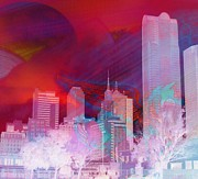 Dallas Skyline Digital Art Prints - Dallas Skyline And Pegasus 1 Print by Shannon Story