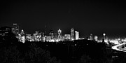 Dallas Skyline Posters - Dallas Skyline At Night Black and White Poster by Patricia Betts