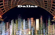 Dallas Skyline Framed Prints - Dallas Skyline at Night Framed Print by David Perry Lawrence