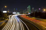 Dallas Skyline Metal Prints - Dallas Skyline at night from I-30 Metal Print by Rob Greebon
