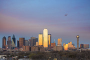 Dallas Skyline Posters - Dallas Skyline in the Evening with Southwest Airlines jet Poster by Rob Greebon