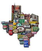 Photomontage Digital Art - Dallas Texas Shaped Photomontage by Carl Crum