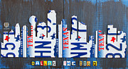 Recycle Mixed Media Prints - Dallas Texas Skyline License Plate Art by Design Turnpike Print by Design Turnpike