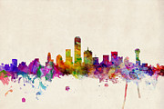 Urban Watercolour Prints - Dallas Texas Skyline Print by Michael Tompsett