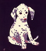 Doggies Paintings - Dalmatian Puppy by George Adamson