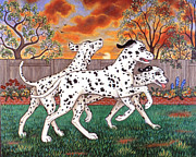 Playing Painting Originals - Dalmatians Three by Linda Mears