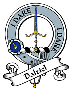 Genealogy Prints - Dalziel Clan Badge Print by Heraldry