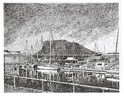 Pen And Ink Framed Prints Prints - Dam Site Marina Elephant Butte Print by Jack Pumphrey