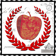 French Country Mixed Media Posters - Damask Fruit Red Kitchen Art Poster by Anahi DeCanio