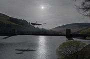 Bouncing Prints - Dambusters Lancaster at the Derwent Dam at night Print by Gary Eason