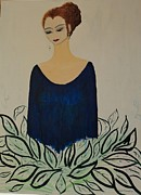 Evening Dress Mixed Media Framed Prints - Dame Bleue Framed Print by Lucie  Menard