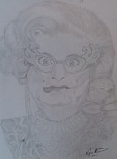 Pencil On Canvas Drawings Posters - Dame Edna Everage Poster by Melissa Nankervis